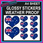 LOVE AUSTRALIA HEART FLAG GRAPHICS CAR BUMPER WEATHER PROOF STICKERS MIXED SIZES